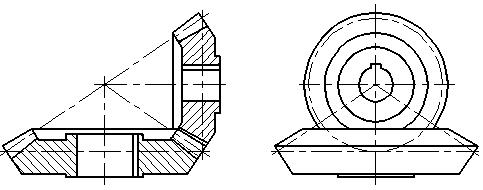 (d)   图7—32    单个圆锥齿轮的画图步骤 3,圆锥齿轮的啮合图画法