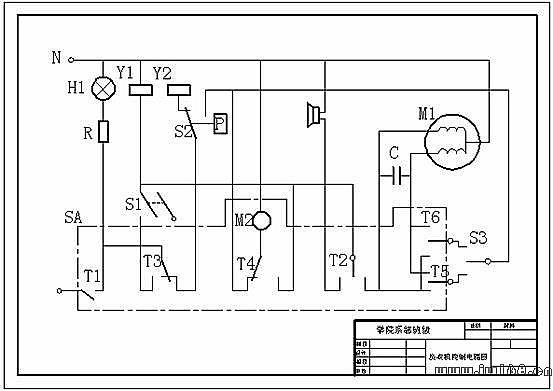 图1-1套桶洗衣机控制电路图    (2)设置图形界限  根据图形的大小和1