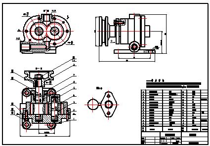 典型机构机械制图-卧式齿轮泵图片